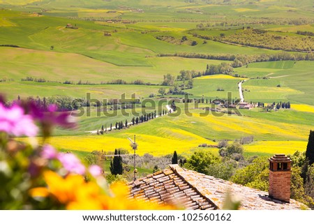 View of a Typical Tuscany Landscape in Springtime - stock photo