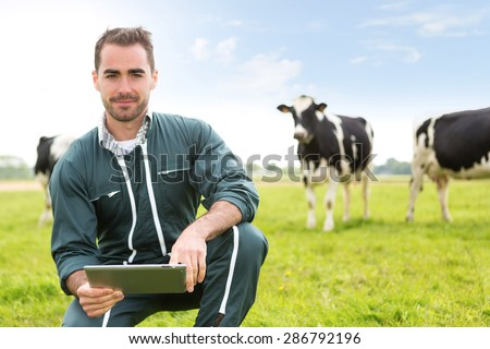 View of a young attractive farmer in a pasture with cows - stock photo