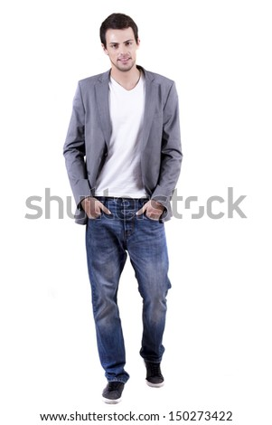 View of a young man walking on a white  background.  - stock photo