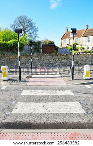 View of a Zebra Crossing in a Typical English Town - stock photo