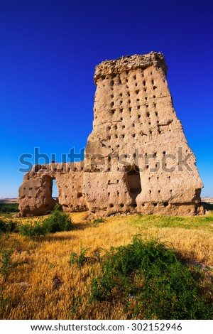 View of  abandoned castle of Palenzuela  - stock photo
