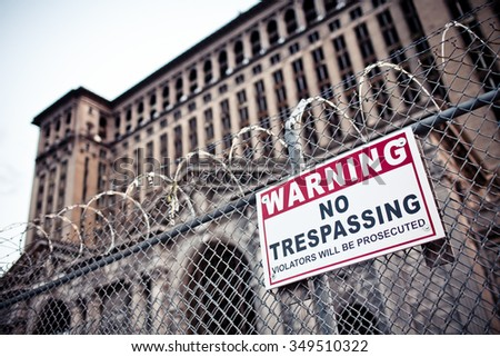 View of abandoned downtown of Detroit, Michigan - stock photo