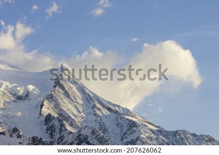 view of Aiguille du Gouter, 3863 m., Chamonix, Alps, France - stock photo