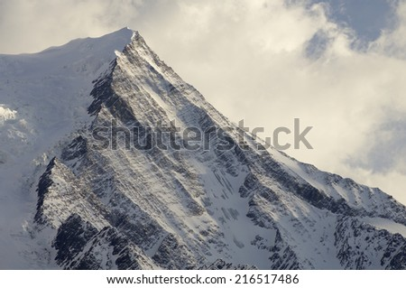 view of Aiguille du Gouter, 3863 m., Chamonix, Alps, France - stock photo