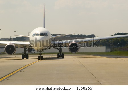 View of airliner from the front - stock photo