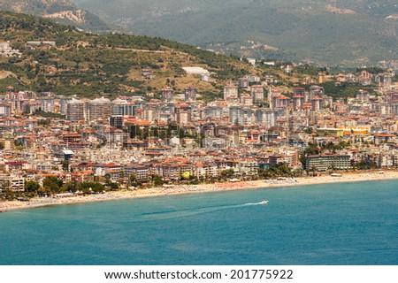 View of Alanya city, mountain  and sea coast. Turkey. - stock photo