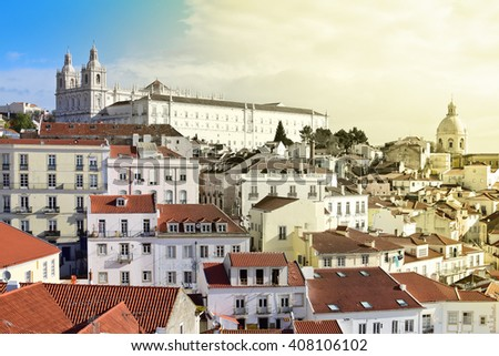 View of Alfama in Lisbon i Portugal - stock photo