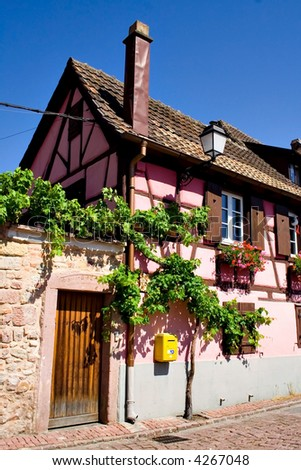 View of Alsace typical traditional House (Turckheim, France) - stock photo