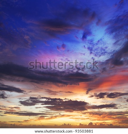 View of amazing sky at sunset time. Square composition. - stock photo