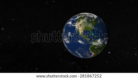 View of America from space - 3D Render of The Globe (Elements of this image furnished by NASA) - stock photo