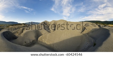 view of an arid landscape around the reservoir Yesa, saragossa, Aragon, Spain - stock photo