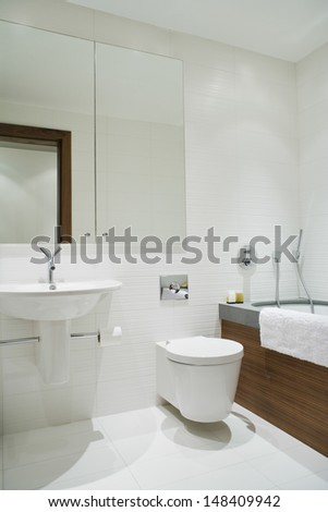 View of an elegant bathroom - stock photo