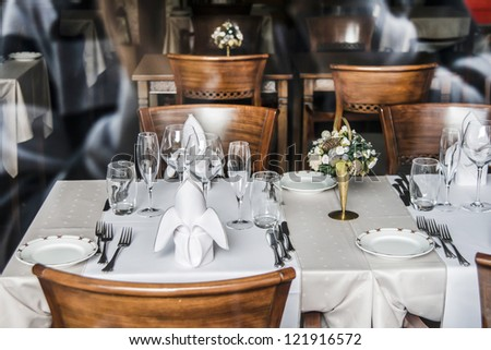 View of an elegant restaurant interior - stock photo