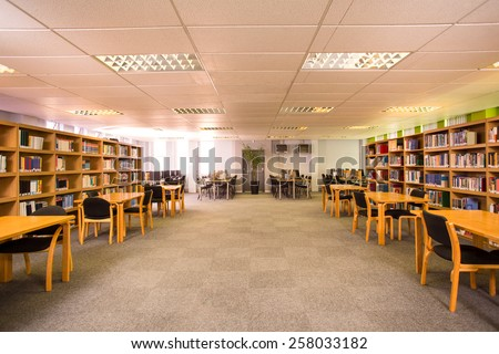 View of an empty library - stock photo