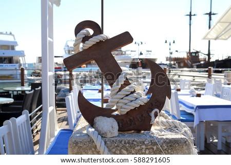 View Iron Anchor Cord Around It Stock Photo 588291605 Shutterstock