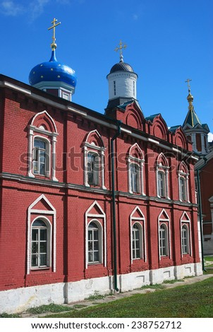 View of an old orthodox church. Kremlin in Kolomna, Moscow region, Russia. Popular touristic landmark, place for walking and historic place.