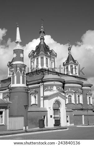 View of an old orthodox church. Kremlin in Kolomna, Moscow region, Russia. Popular touristic landmark, place for walking and historic place. Black and white photo. - stock photo