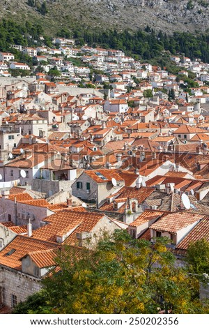 View of an old town dubrovnik, Croatia from the town fortress - stock photo