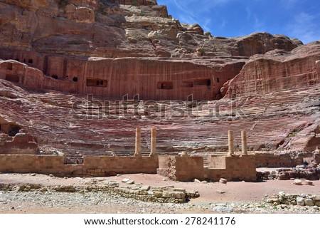 View of ancient amphitheater in Petra, Jordan - stock photo