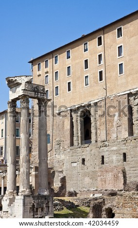 View of ancient architecture around Roman Forum