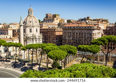view of ancient ruins in roman forum in Rome, Lazio, Italy - stock photo