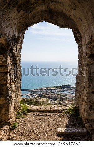 view of ancient ruins of temple in Terracina, Lazio, Italy
