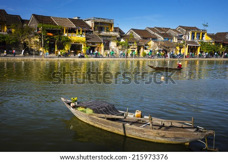 View of ancient town in Hoi An, Vietnam. Hoi An is an exceptionally well-preserved example of a Asian trading port dating from the 15th to the 19th century.  - stock photo