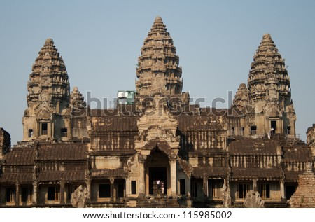View of Angkor Thom temple complex in Angkor Wat - stock photo