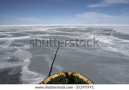 View of Antarctica from the bow of a Russian icebreaker on Antarctica - stock photo