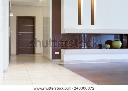 View of apartment entrance inside modern interior - stock photo
