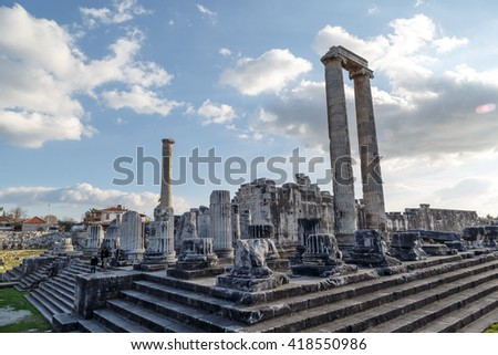 View of Apollon Temple in Didyma Ancient City in Aydin Turkey, on cloudy blue sky bakcground. - stock photo