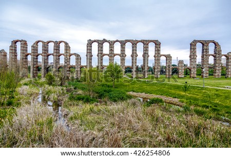 view of Aqueduct of the Miracles in Merida, Extremadura Spain - stock photo