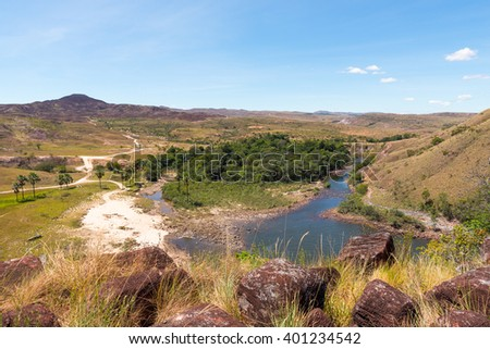 "View of Arabopo valley from the top of ""Kae Meru"", a.k.a. Ka waterfall, in Bolivar state, Venezuela. - stock photo"