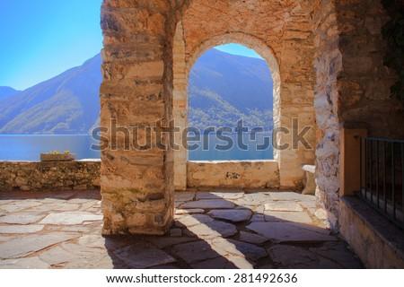 View of arch next to the Lugano lake - stock photo