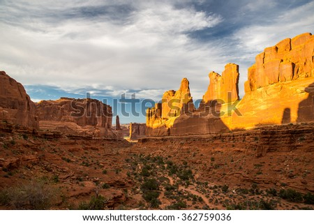 View of Arches National Park during the sunset hour.