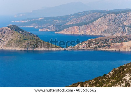 View of Assos village on Kefalonia island, Greece