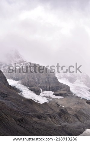View of Athabasca Glacier, Icefields Parkway, Jasper National Park, Canada, Banff National Park, Alberta, Canada - stock photo