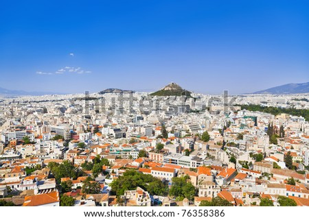 View of Athens from Acropolis, Greece - travel background - stock photo