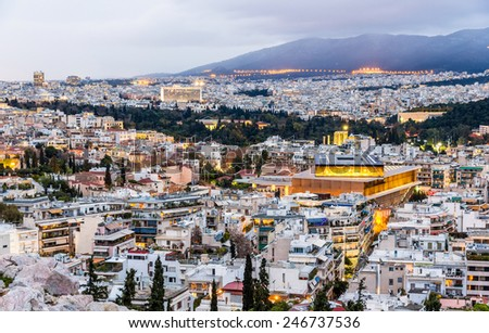 View of Athens in the evening - Greece - stock photo