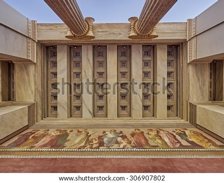 view of Athens national university ceiling, Greece - stock photo