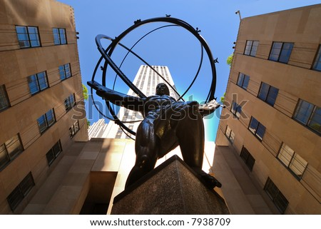 View of Atlas statue and Rockefeller center seen from below - stock photo