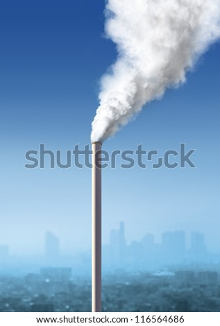 view of atmospheric air pollution from factory, industria landscape - stock photo