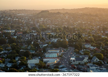 View of Auckland Suburb from Mt. Eden Summit - stock photo