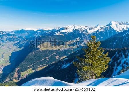 View of Austrian Alps, Mayrhofen ski resort - stock photo