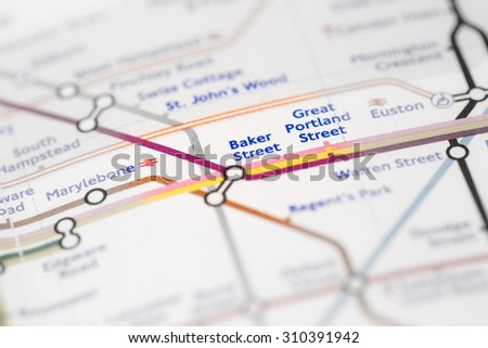 View of Baker Street station on a London subway map. (selective colouring) - stock photo