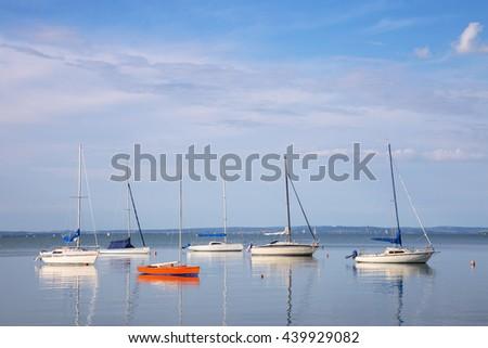 View of Balaton lake in Hungary with yachts - stock photo
