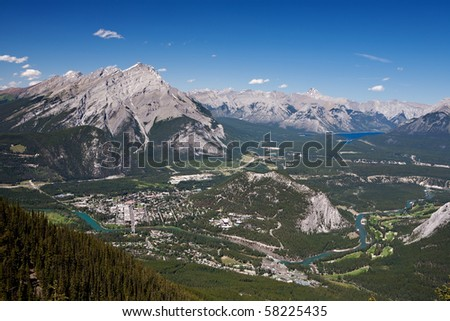View of Banff and surroundings, from the top of Sulphur Mountain - stock photo