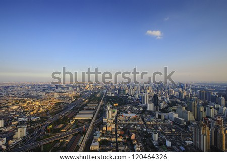 view of Bangkok city from highest building, thailand