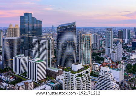 View of Bangkok Modern buildings in the business district.
