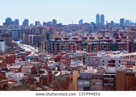 View of Barcelona from Badalona Municipality. Catalonia, Spain